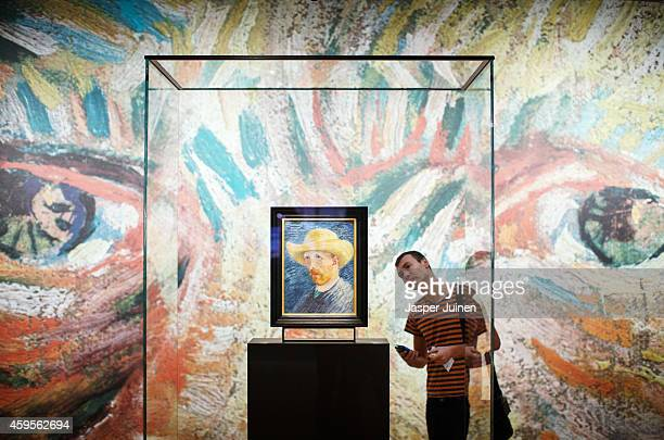 A visitor looks at a self portrait of Dutch PostImpressionist painter Vincent van Gogh on the ground floor of the Vincent van Gogh museum on November...
