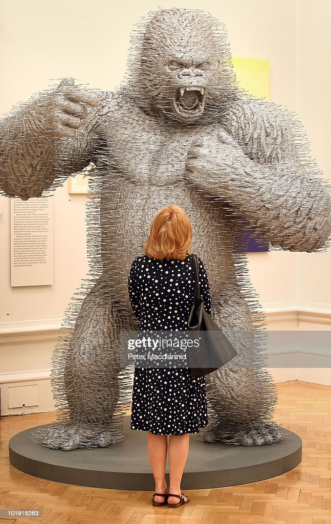A visitor looks at a statue of a gorilla made from metal wire coat hangers entitled 'Silver Streak' by David Mach at The Royal Academy Summer Exhibition on June 9, 2010 in London, England. The RA Summer exhibition is the world's largest open submission contemporary art exhibition with 1267 exhibits selected from over 11,000 entries.