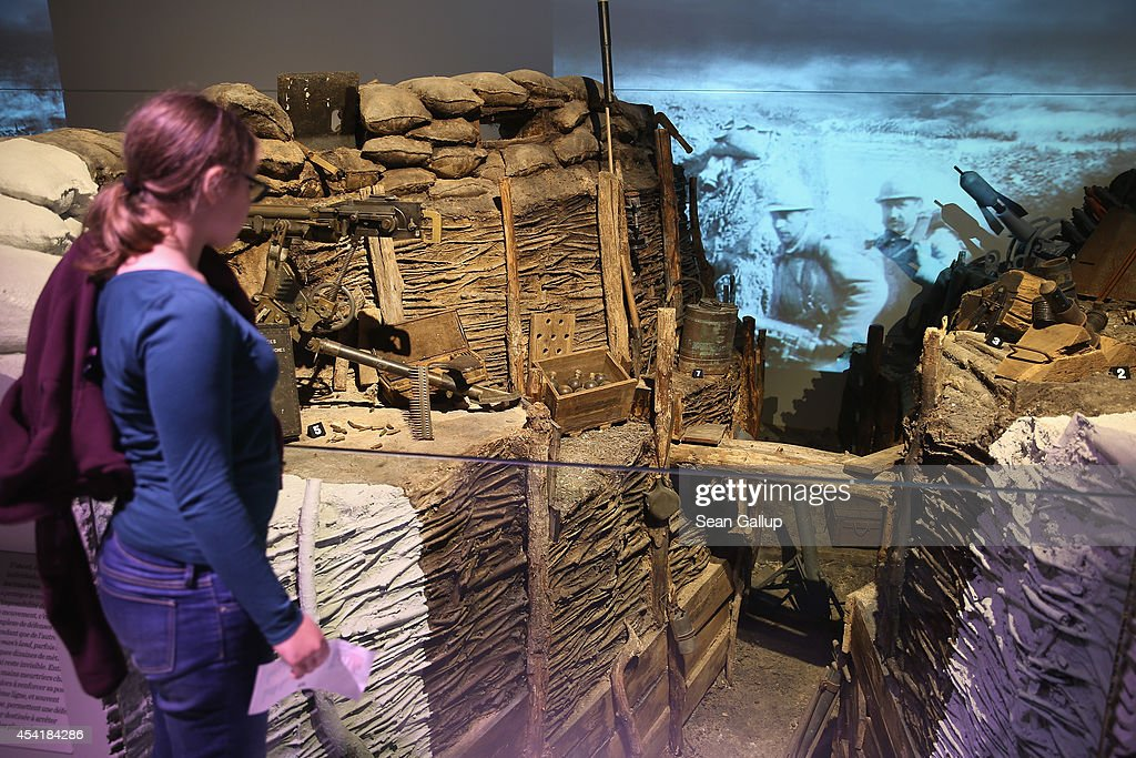 A visitor looks at an exhibit of a French trench from World War I at the Museum of the Great War at Meaux (Musee de la Grande Guerre du Pays de Meaux) on August 25, 2014 in Meaux, France. At the beginning of September, 1914, German armies had nearly reached Paris when British and French armies, after weeks of retreat, counterattacked and stemmed the German advance in the First Battle of the Marne, pushing the Germans north to what would soon become the stalemate trench war that defined the Western Front for the next four years.