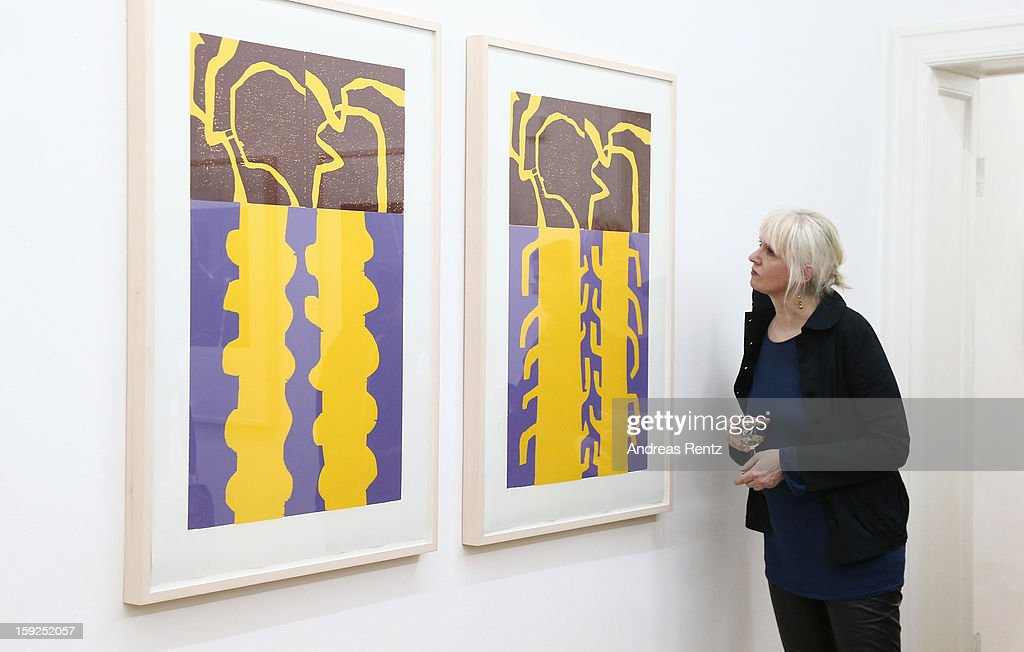 A visitor looks at Barbara Salesch's art work (title: 'Farbserie 1 - 7teilig') at ROOT gallery on January 10, 2013 in Berlin, Germany. The exhibition will open January 10 and run through February 3.