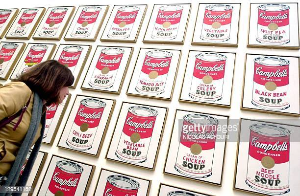 A visitor looks at enigmatic American artist Andy Warhol's 'Campbell's Soup Cans' at the Tate Modern in London 05 February 2002 A major retrospective...
