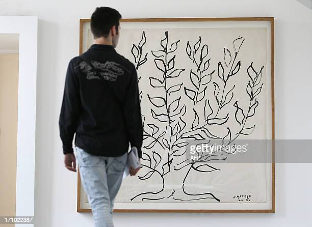 A visitor looks at the art work 'Arbre' by French artist Henri Matisse at the Matisse Museum on June 20 2013 in Nice southeastern France RESTRICTED...
