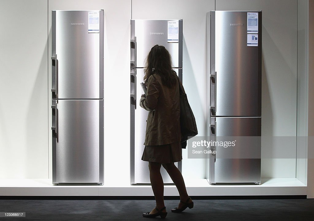 A visitor looks at the latest generation of refrigerators at the Liebherr stand at the IFA 2011 consumer electonics and appliances trade fair on the first day of the fair's official opening on September 2, 2011 in Berlin, Germany. The IFA 2011 will be open to the public from September 2-7.