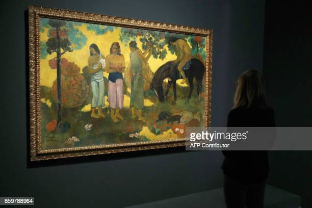 A visitor looks at the painting 'Rupe Rupe ' by French painter Paul Gauguin during the exhibition entitled 'Gauguin the alchimist' at the Grand...