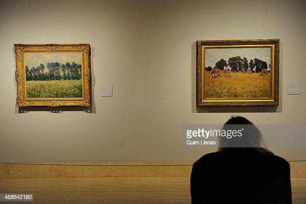 A visitor looks at the paintings titleds 'Prairie at Giverny' by Claude Monet and 'Reapers Resting in a Wheat Field' by John Singer Sargent during...