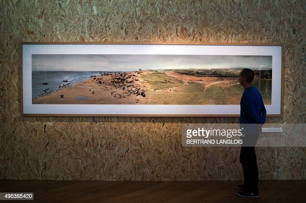 A visitor looks at the work 'Est/Ouest' by French artist Julien Audebert as part of the exhibition 'J'aime les panoramas' at the Museum of European...