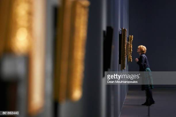 A visitor looks at works by Matthijs Maris during a special exhibition held at the Rijksmuseum Exhibition on October 13 2017 in Amsterdam Netherlands...