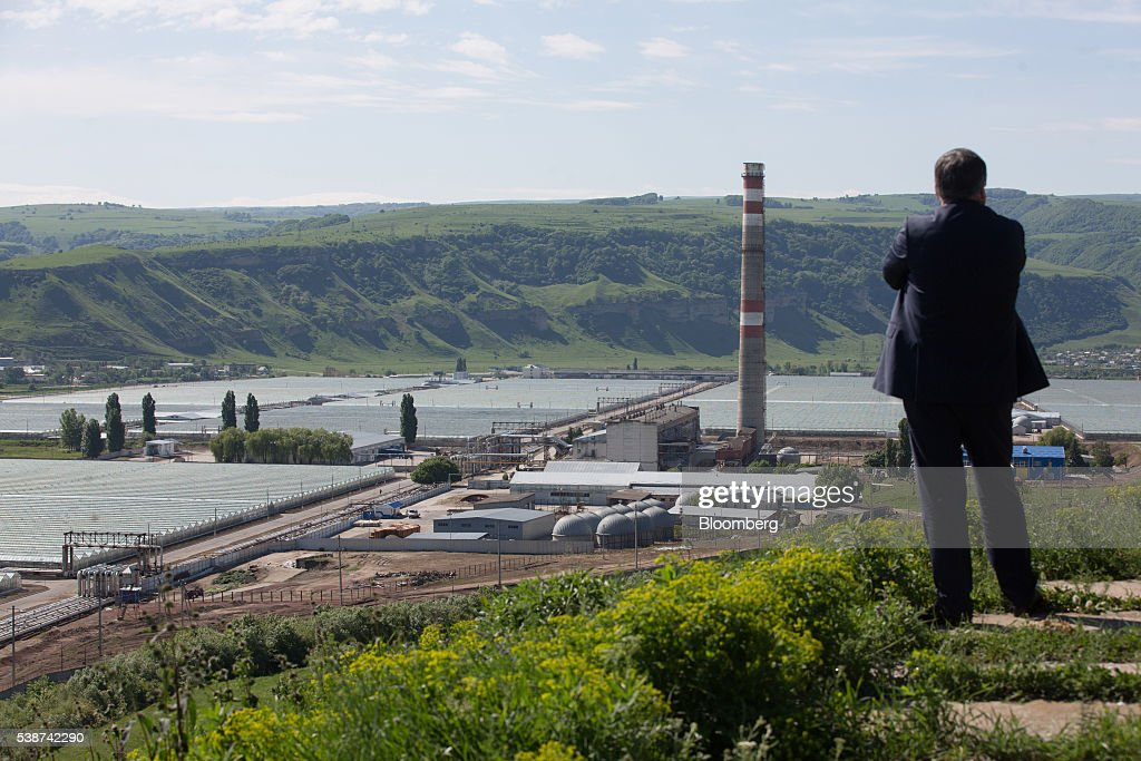 A visitor looks out from a hillside over the site of Soviet era hothouses used to grow vegetables at the Yuzhny Agricultural Complex, operated by AFK Sistema, in Ust-Dzheguta, Russia, on Wednesday, May 18, 2016. The plump hybrid tomatoes, named for the fearsome tank that helped trounce Hitler, are the pride of the Yuzhny Agricultural Complex, a mass of greenhouses the size of 2,300 football fields between the Black and Caspian seas. Photographer: Andrey Rudakov/Bloomberg via Getty Images