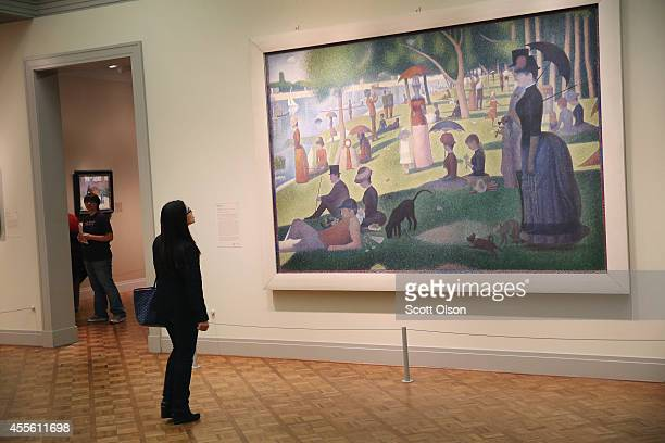 A visitor looks over Georges Seurat's A Sunday on La Grande Jatte at the Art Institute of Chicago on September 17 2014 in Chicago Illinois The museum...