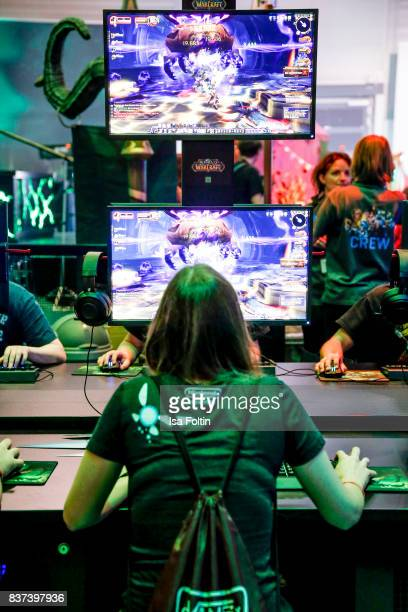 A visitor plays a game at the Gamescom 2017 gaming trade fair on August 22 2017 in Cologne Germany Gamescom is the world's largest digital gaming...