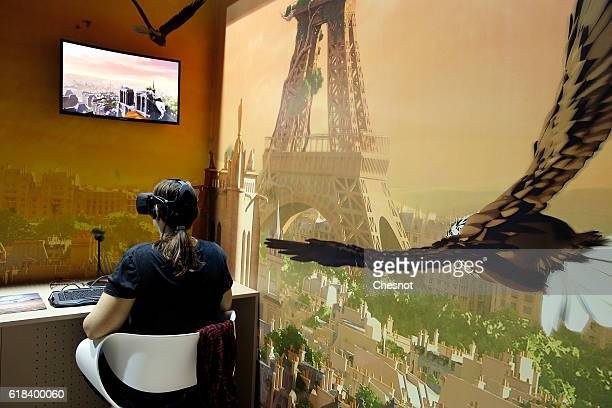A visitor plays the game 'Eagle Flight' developed by Ubisoft with the Oculus Rift virtual reality headset during the 'Paris Games Week' on October 26...