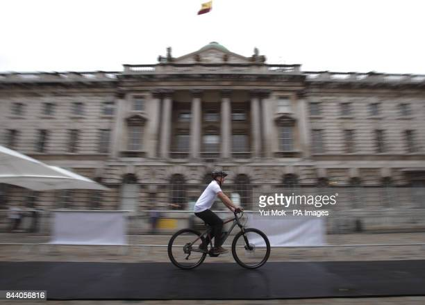 A visitor rides an eBike during the Bosch transforMOTION mobility event at Somerset House London