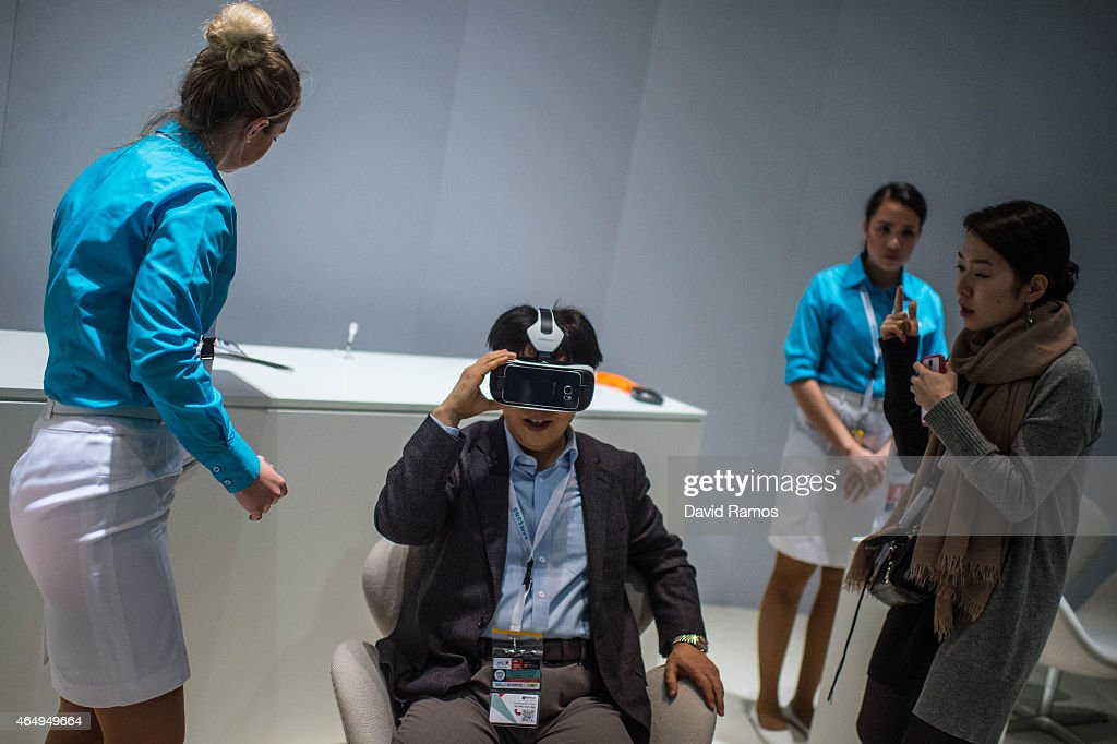 A visitor samples a Samsung gear VR device during the first day of the Mobile World Congress 2015 at the Fira Gran Via complex on March 2, 2015 in Barcelona, Spain. The annual Mobile World Congress hosts some of the wold's largest communication companies, with many unveiling their latest phones and wearables gadgets.