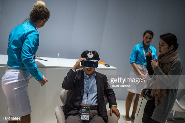 A visitor samples a Samsung gear VR device during the first day of the Mobile World Congress 2015 at the Fira Gran Via complex on March 2 2015 in...