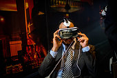 A visitor samples a Samsung Gear VR during the second day of the Mobile World Congress 2015 at the Fira Gran Via complex on March 3 2015 in Barcelona...
