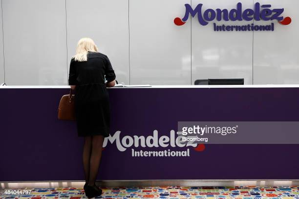 A visitor stands in the reception area of the Bournville Cadbury factory operated by Mondelez International Inc in Birmingham UK on Thursday April 10...