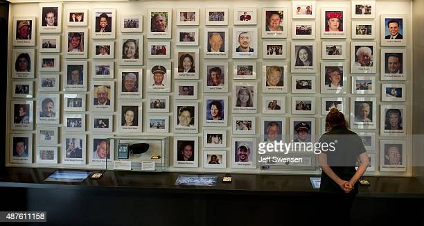 A visitor views a display at the visitor center at the Flight 93 National Memorial on September 10 2015 in Shanksville Pennsylvania The newly opened...