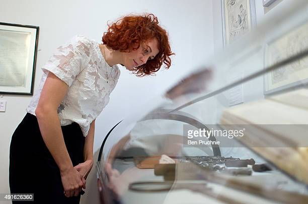 A visitor views a display of prison tools on October 7 2015 in London England Running from October 9 2015 until April 10 the exhibition will display...
