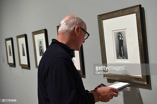 A visitor views a photograph by Irving Penn entitled 'Gypsy Rose Lee' during a press preview for 'The Radical Eye Modernist Photography from The Sir...