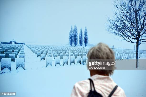 A visitor views a work part of a public exhibition of of WWI landscapes entitled 'Fields of Battle Lands of Peace' created by photographer and...