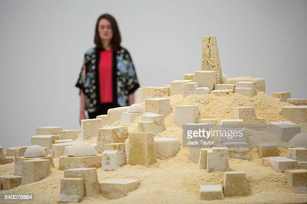 A visitor views at 'Untitled ' a sculpture made from cous cous by Kader Attia at the Tate Modern's new Switch House on June 14 2016 in London England...