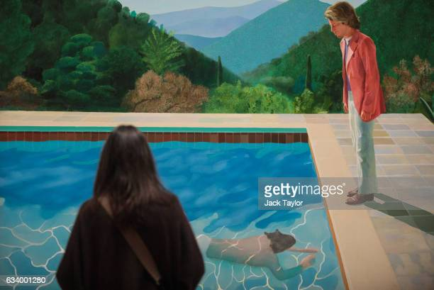 A visitor views 'Portrait of an Artist ' 1972 by David Hockney during a press preview for the British artists' retrospective at Tate Britain on...