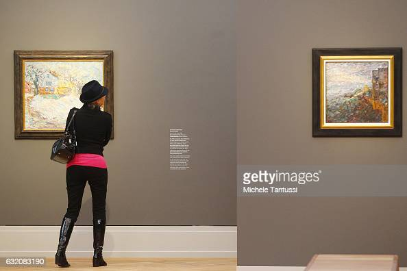 Visitor walks among the museum's exhibition spaces during a press preview in Barberini Museum on January 19 2017 in Potsdam Germany The art museum...