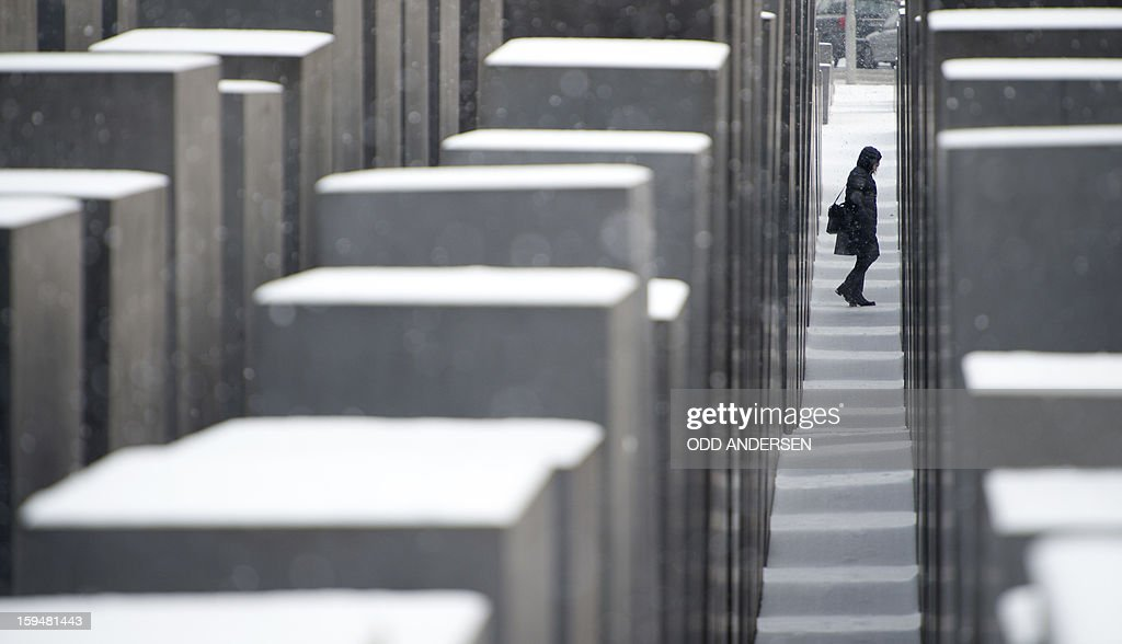 A visitor walks among the snow covered concrete slabs at the Memorial for the murdered Jews in Europe in Berlin on January 14, 2013. Temperature dropped over night and snow followed at daybreak in the German capital. AFP PHOTO / ODD ANDERSEN