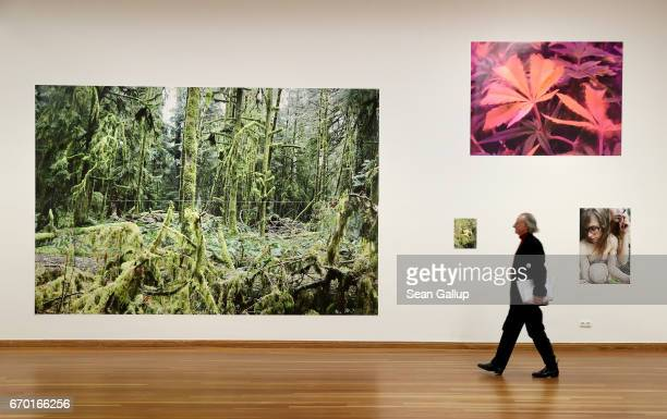 A visitor walks among works by photographer Juergen Teller at a press preview of Teller's exhibition 'Juergen Teller Enjoy Your Life' at Martin...