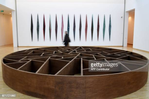 A visitor walks by a piece of art called 'Par une foret obscure' by French artist Daniel Dezeuze displayed at the Musee de Grenoble in Grenoble on...
