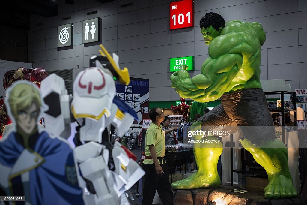 A visitor walks front of the comics character Hulk during the Bangkok Comic Con 2016 Festival at Bitec Exhibition Centre in Bangkok, Thailand on April 29, 2016. 'Cosplay' imitates characters from comics, video games, anime series and science fiction movies, mostly coming from the Japanese pop culture. Bangkok Comic Con is one of the biggest Pop Culture exhibition in Asia starts from 29 April until 1 May 2016. The event hopes to turn Thailand into a major center for international filmmakers and animators come to create their masterpieces. Comic Con is an internationally renowned event in the world of animation as it started in 1970 in San Diego.