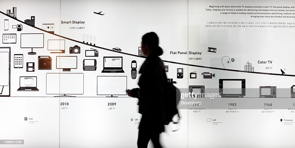 A visitor walks past a timeline showing the development of display technology in an exhibition hall at the Samsung Innovation Museum operated by...