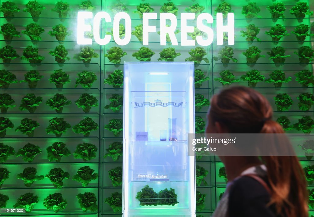 A visitor walks past an Eco Fresh transparent refrigerator at the Panasonic stand at the 2014 IFA home electronics and appliances trade fair on...