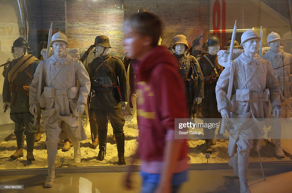 A visitor walks past mannequins of German and French soldiers from World War I at the Museum of the Great War at Meaux (Musee de la Grande Guerre du Pays de Meaux) on August 25, 2014 in Meaux, France. At the beginning of September, 1914, German armies had nearly reached Paris when British and French armies, after weeks of retreat, counterattacked and stemmed the German advance in the First Battle of the Marne, pushing the Germans north to what would soon become the stalemate trench war that defined the Western Front for the next four years.