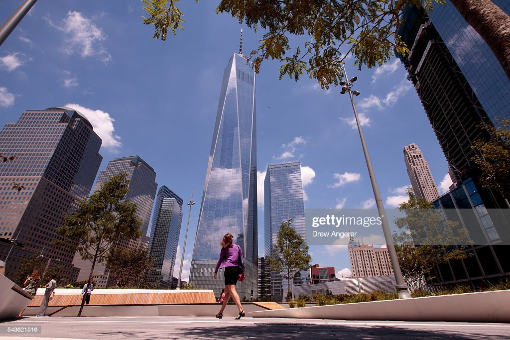 A visitor walks through the newly opened Liberty Park in Lower Manhattan, June 29, 2016 in New York City. Liberty Park, elevated above Liberty Street in Lower Manhattan, overlooks the National September 11 Memorial Plaza and One World Trade Center. The one-acre, $50 million park will be open to the public every day from 6 in the morning to 11 at night.