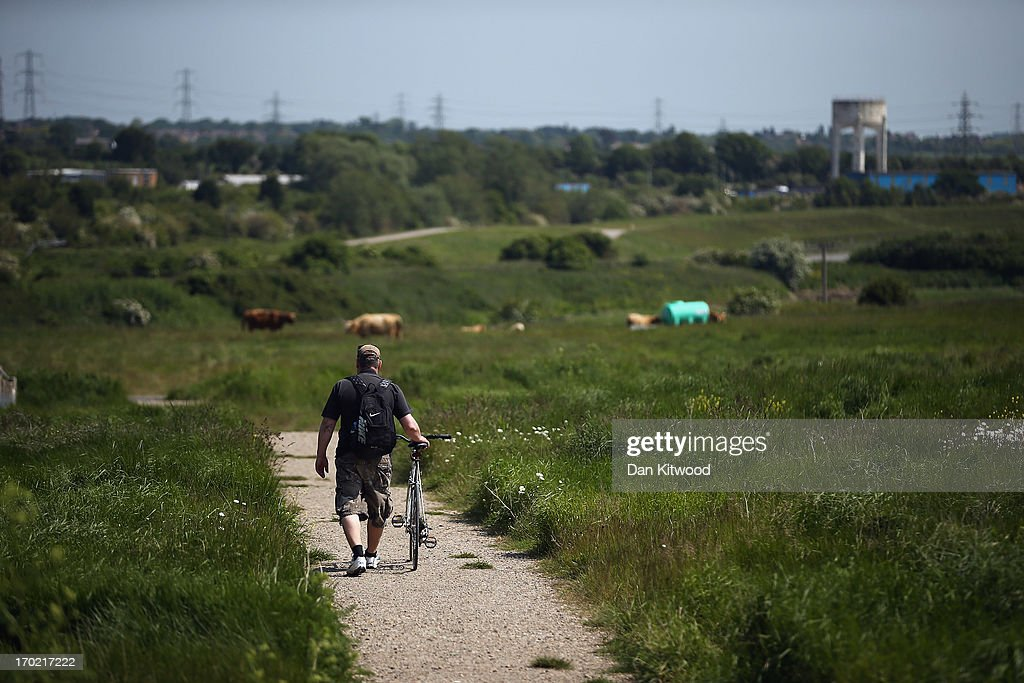 A visitor walks through 'Thurrock Thameside Nature Park' on June 6, 2013 in Thurrock, England. The 120 acres of grass, bramble and shrub that make up 'Thurrock Thameside Nature Park' sits on top of what was Europe's largest landfill site overlooking the Essex coastline in the Thames Estuary. Over the last 50 years six of London's borough's had been dumping their rubbish on the site, (originally a huge gravel pit), which in places is over 30 metres thick. The £2.5Million GBP restoration project run by Essex Wildlife Trust and the landfill company Cory Environmental worked to compact the rubbish before adding a thick layer of clay, known as a pie-crust, over the waste, before covering it in soil. The area which when finished will encompass 845 acres is run by the Essex Wildlife Trust and is home to an array of wildlife including, Shrill Carder Bee, Great Crested Newt, Brown Hare, Avocet, Short-eared Owl, Barn Owl and Kingfisher.