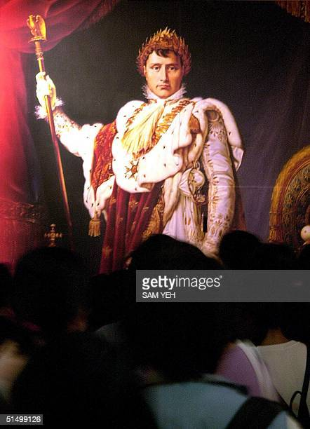 Visitors admire a portrait of French general and emperor Napoleon Bonaparte during the opening ceremony of the exhibition at Dr Sun Yatsen Memorial...
