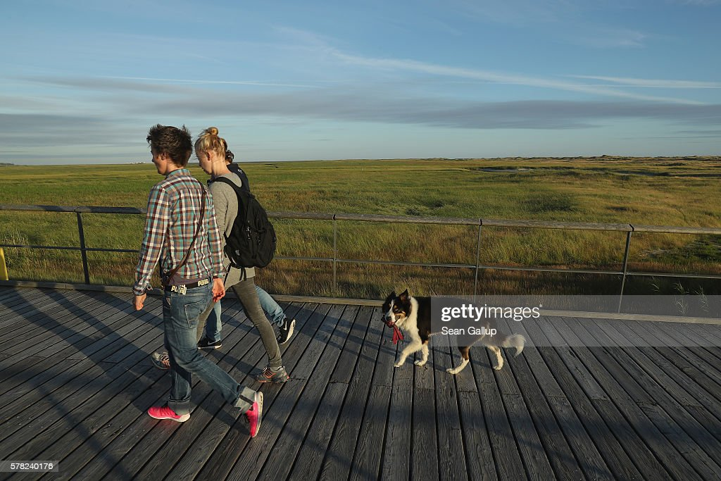 Visitors and a dog walk on a wooden walkway that crosses protected dunes and salt marshes after a day at the beach on July 18, 2016 at Sankt-Peter-Ording, Germany. Sankt-Peter-Ording is among the top destinations for vacationers along Germany's North Sea coast. Many Germans, unsettled by the recent terror attacks in countries like France and Turkey, are choosing to vacation in Germany this summer.