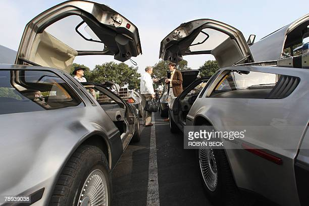 Visitors and car owners appreciate some 100 DeLorean cars from around the US southwest are gathered at Universal Studios Hollywood in University City...