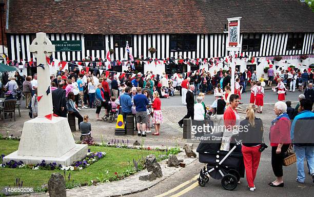 Visitors and locals enjoy the Ightham medieval Coxcombe Fair to celebrate Queen Elizabeth II's Diamond Jubilee at Ightham on June 03 2012 in Ightham...