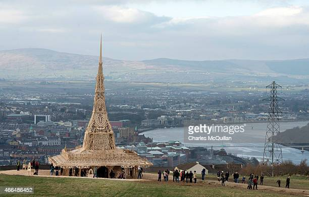 Visitors and participants visit the Temple by renowned Burning Man artist David Best on March 16 2015 in Londonderry Northern Ireland Members of the...