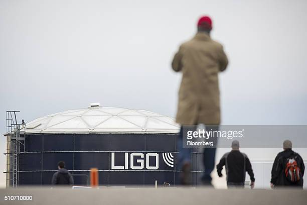 Visitors approach the Laser Interferometer GravitationalWave Observatory at the Hanford Site in Richland Washington US on Saturday Feb 13 2016...