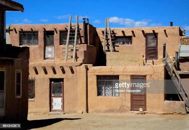 Visitors are allowed to explore the stone and adobe homes at Sky City one of three Native American villages which make up Acoma Pueblo west of...