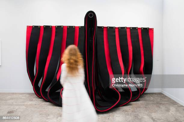 Visitors are looking at a work of art by Robert Morris during the opening of the 2017 International Contemporary Art Fair at the Grand Palais on...