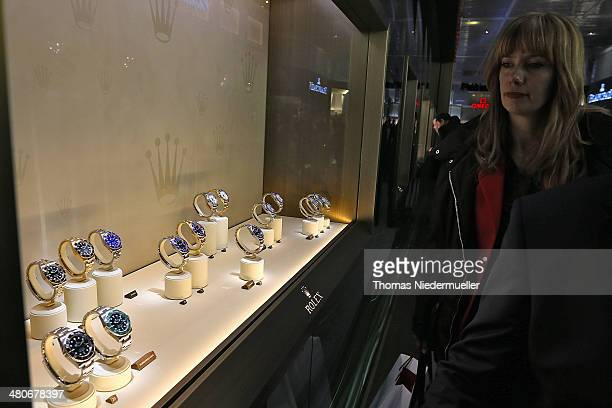 Visitors are seen at Baselworld luxury watch and jewelry fair on March 26 2014 in Basel Switzerland