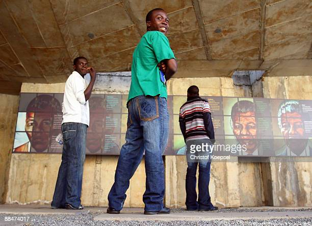 Visitors are seen during a visit of the Apartheid museum on June 13 2009 in Johannesburg South Africa