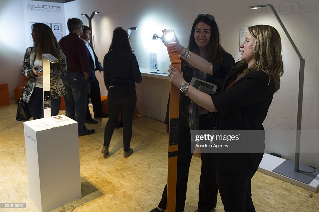 Visitors are shown Luctra lighting prodcuts on display at the Clerkenwell Design Week in London, United Kingdom on May 24, 2016