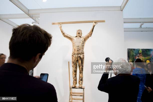 Visitors are taking pictures of a work of art by Belgium Artist Jan Fabre during the opening of the 2017 International Contemporary Art Fair at the...