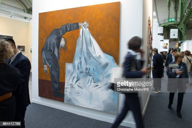 Visitors are walking next to a work of art by Apostolos Goeorgiou during the opening of the 2017 International Contemporary Art Fair at the Grand...