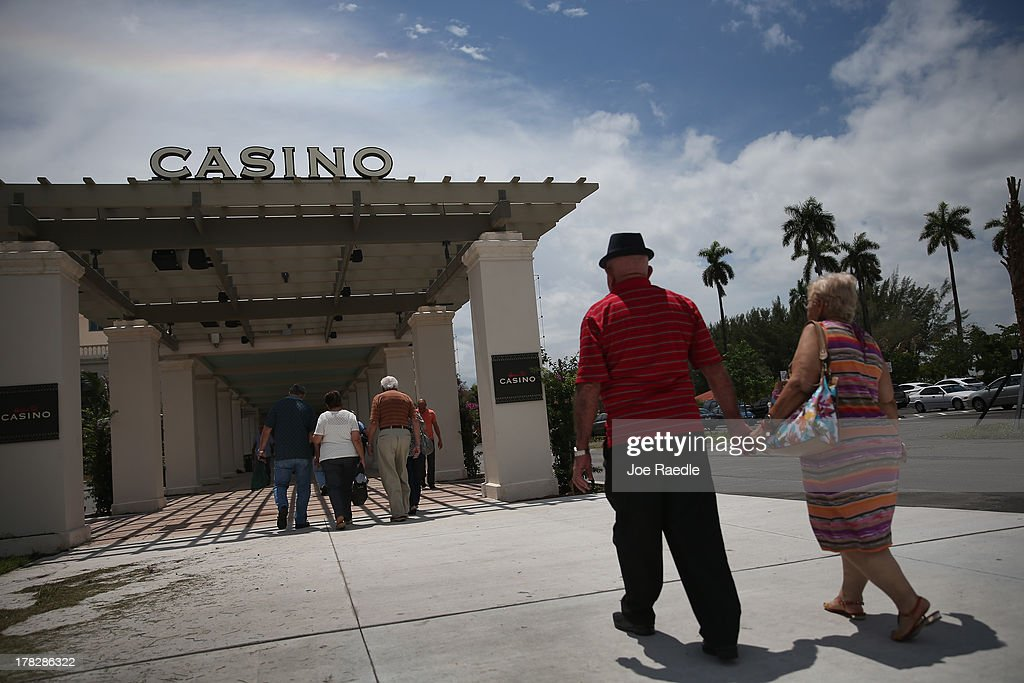 Visitors arrive at the casino that will hold its grand opening on Friday located in the Hialeah Park Race Track which first opened in 1925 on August 28, 2013 in Hialeah, Florida. The new casino is located in the same complex as the race track which in its heyday was known as the 'the worlds most beautiful race course.'